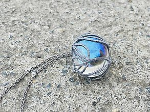 Náhrdelníky - Prívesok Aqua Aura v čipke - 13810292_