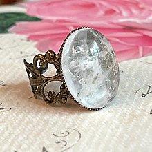 Prstene - Crystal Quartz Vintage Bronze Ring / Prsteň s horským krištáľom - 13810191_