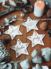 Dekorácie - Prírodné drevené ozdoby hviezdičky - 13811463_