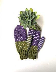 Rukavice - Zeleno fialové palčiaky - 13809467_