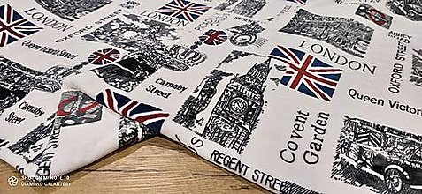 Textil - Flis - Vzorovaný- cena za 10 cm (London) - 13809157_