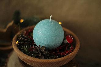 Svietidlá a sviečky - Sviečka zo 100% palmového vosku GUĽA (Tyrkysová) - 13810936_