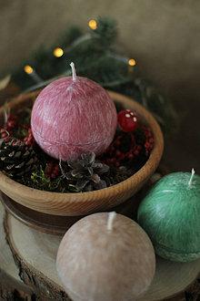 Svietidlá a sviečky - Sviečka zo 100% palmového vosku GUĽA (Bordová) - 13810952_
