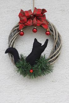 Detské doplnky - Vianočný prútený veniec pre milovníka mačiek - 13812006_