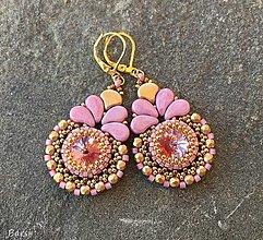 Náušnice - Luxusné ružovo-zlaté náušnice - 13811919_