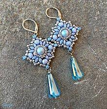 Náušnice - Nebesky modré náušnice s brúsenou kvapkou - 13811979_