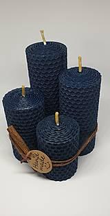 Svietidlá a sviečky - Adventná sada sviečok hrubá modrá - 13809340_