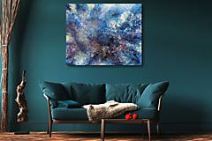 Obrazy - Niekde vo vesmíre - abstraktný obraz 100x80 cm, ručne maľovaný - 13808780_