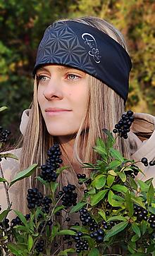 Ozdoby do vlasov - Termo čelenka - FIORE DELLA VITA BLACK - 13812356_