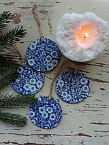 Dekorácie - Vianočná dekorácia modrotlač - 13809561_