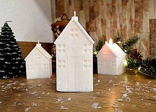 Svietidlá a sviečky - Vianočná sviečka, domček biely, veľký - 13809841_
