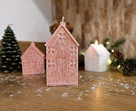 Svietidlá a sviečky - Vianočná sviečka, domček hnedý, veľký - 13809917_