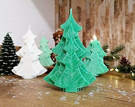 Svietidlá a sviečky - Vianočná sviečka, stromček, tmavozelený - 13810516_