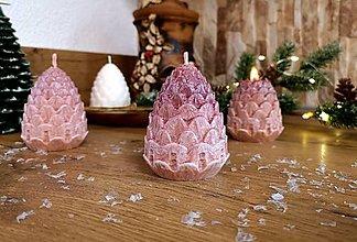 Svietidlá a sviečky - Vianočná sviečka, šiška hnedá - 13811347_