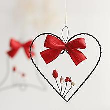 Dekorácie - vianočné ozdôbky s červenou mašličkou (srdiečko) - 13813169_
