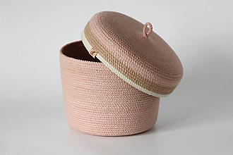 Košíky - Provazový košík růžový s pokličkou - 13813599_