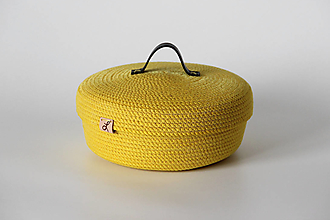 Košíky - Provazový košík žlutý s pokličkou - 13813627_