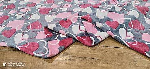 Textil - Flis- cena za 10 centimetrov (Srdiečka) - 13813149_