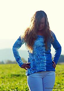 Tričká - Dámske tričko batikované, maľované BELÁSKAVÝ - 13813841_