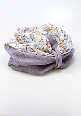 Šatky - Pôvabný dámsky navliekací nákrčník z ľanu a vlny s kvetinovou bavlnou - 13816834_