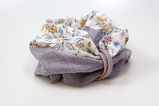 Pôvabný dámsky navliekací nákrčník z ľanu a vlny s kvetinovou bavlnou