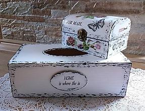 Krabičky - Šperkovnica AIR MAIL s motýlikom a ružami - 13813870_