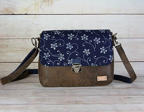 Modrotlačová kabelka Eliška hnedá vintage 2
