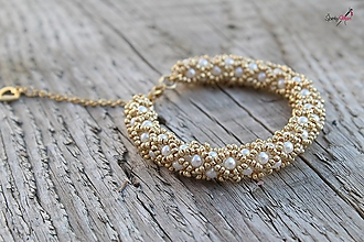 Sady šperkov - súprava PP bielo-zlatá (náramok PP bielo-zlatý) - 13820380_