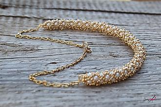 Sady šperkov - súprava PP bielo-zlatá (náhrdelník PP bielo-zlatý) - 13820387_