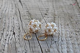 Sady šperkov - súprava PP bielo-zlatá (náušnice PP bielo-zlaté) - 13820396_