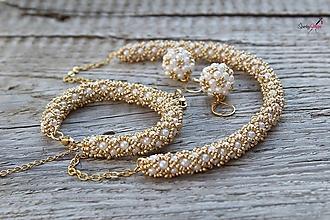 Sady šperkov - súprava PP bielo-zlatá (súprava PP bielo-zlatá) - 13820406_