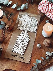 Dekorácie - Sada drevených ozdôb Domčeky - 13818446_