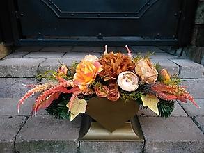 Dekorácie - ikebana jesenná v srdiečku 55 cm - 13819403_
