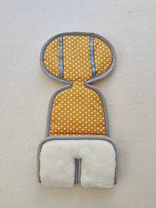 Textil - VLNIENKA Podložka do autosedačky vajíčka 0+ / 0-13 kg 100% Merino proti poteniu a prechladnutiu Bodka horčicová - 13818901_