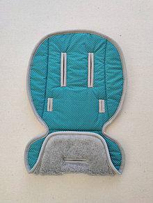 Textil - Podložka do kočíka RICO Marla 100% ovčie rúno MERINO TOP SUPER WASH Grey Bodka petrolejová - 13819116_