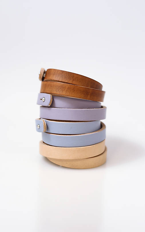 Kožené remienky - set štyroch ručne farbených remienkov