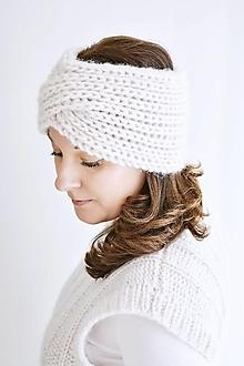 Čiapky - MAXI čelenka - biela hmla - 13818305_