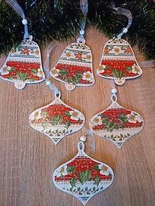 Dekorácie - Zvončeky s vianočnou ružou  - Sada 6 ks vianočných ozdôb - 13819841_
