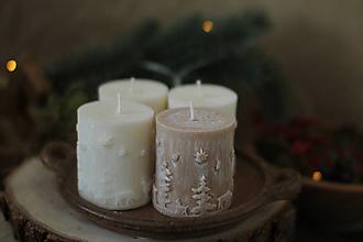 Svietidlá a sviečky - Adventná sada sviečok (Biele s hnedou) - 13817854_