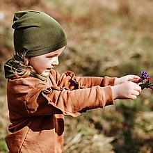 Detské čiapky - 100% merino Celoročná tenšia čiapka -khaki - 13817654_