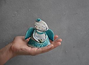 Dekorácie - Anjel stojací S so srdcom tyrkysový - 13818833_