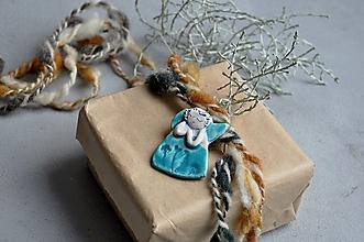 Dekorácie - Anjel malý tyrkysový - 13819013_