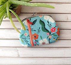 Peňaženky - Peňaženka XL Modrá kvetovaná (s kapsičkami) - 13817024_