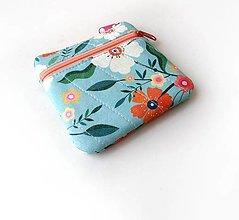 Taštičky - Taštička s kapsičkou Modrá kvetovaná - 13817028_