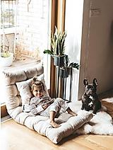 Úžitkový textil - Ľanová leňoška - matrac na leňošenie (piesková - prírodná) - 13817231_