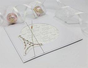Papiernictvo - Šťastné Vianoce II - vyšívaný pozdrav - 13819670_