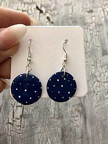 Náušnice - bodkované krúžky (Modrá) - 13817614_
