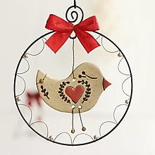 Dekorácie - vtáčik so srdiečkom - 13821157_