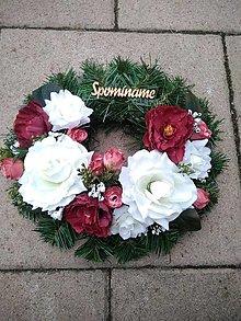 Dekorácie - veniec na hrob bordovo-smotanový 32 cm - 13821961_