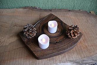 Svietidlá a sviečky - Svietnik - orech 1 - 13821954_